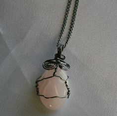 Rose Quartz Wire Wrapped Stone Pendant by CrystalLuvJewelry, $11.88
