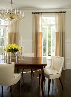 Elegant Dining Room Curtains Beautiful Lighter Fabric at the top Banded Drapery Panels the Dining Room Drapes, Dining Room Windows, Elegant Dining Room, Dining Room Design, Dining Chairs, Curtains Living, Room Chairs, Dining Rooms, Bedroom Curtains