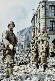 "Matt Damon and Tom Hanks in ""Save Private Ryan"" by Steven Spielberg Tom Hanks, Movies To Watch List, Amblin Entertainment, Saving Private Ryan, War Film, Army Love, Matt Damon, Steven Spielberg, Movie Wallpapers"