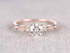 rose gold moissanite ring. See more Art Deco Retro Vintage moissanite engagement rings in BBBGEM.