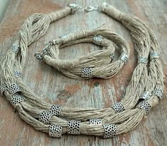 #Эко-украшения. Колье и браслет из льняной нити. #linen cord jewellary. #linen cord necklace and bracelet. #Hand-made jewellary
