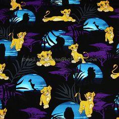 sk005 - 1 Yard Cotton Woven Fabric - Cartoon Characters, The Lion King Simba - Black (W140)