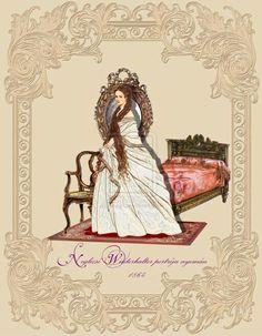 Keizerin Elisabeth in nachtgewaad.