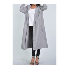 Rotita Grey Long Sleeve Pocket Design Coat (52 BAM) ❤ liked on Polyvore featuring outerwear, coats, grey, grey coat, grey wool coat, gray coat, long sleeve coat and long wool coat