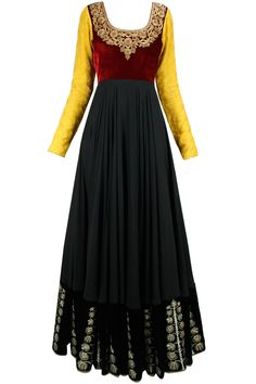 Black, maroon and mustard embroidered jalabiya anarkali BY VIKRAM PHADNIS. Shop now at: www.perniaspopups... #perniaspopupshop #amazing #beautiful #clothes #style #designer #fashion #stunning #trend #new