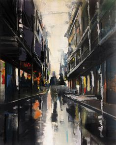 """French Quarter at Dusk / 18"""" x 24' Oil on canvas    Contemporary abstract painting of the French Quarter in New Orleans  Available from the Saladino Gallery danny@saladinogallery.com"""
