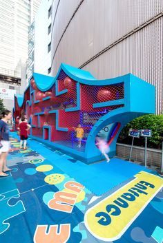 The Puzzle Maze is a public space intervention designed to foster interactions, attract customers and enhance the experience in the privately-owned public sp. Id Design, Gate Design, Parasitic Architecture, Outdoor Signage, Playground Design, Exhibition Space, Urban Landscape, Kid Spaces, Maze