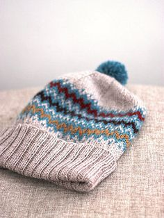 A slouchy hat with a folded brim and stranded pattern to keep your ears warm!