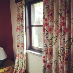 Katmai embroidery brightening up a bedroom. We love it #wind #windtextiles #windtextile #windexclusive #windexclusivedesign #windfabric   #windfabrics #curtains #upholstery #katmai #embroidery #bedroom #colourful #flowers