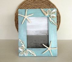 Beach Decor picture frame 5x7 Seashell & by HydrangeaHillVintage
