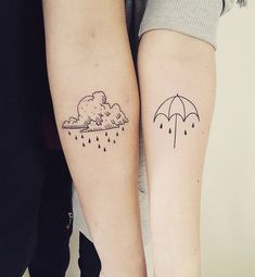 35 Amazingly Cute Cloud Tattoos Which Resonate Your Love for Rains. Cute Back Tattoos For Females Girl Back Tattoos, Back Tattoo Women, Couple Tattoos, Tattoos For Women, Rain Tattoo, Umbrella Tattoo, Rain Cloud Tattoos, Couples Tattoo Designs, Unique Tattoo Designs