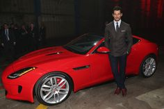 David Gandy at the New Jaguar F TYPE Coupe Launch | November 19, 2013. Red looks good  on him