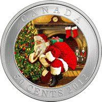 2012 Santa Magical visit coin-Santa hushing the viewer Canadian Coins, Canada, Commemorative Coins, Canadian Artists, Half Dollar, Gold Coins, Hush Hush, Mint, Holiday