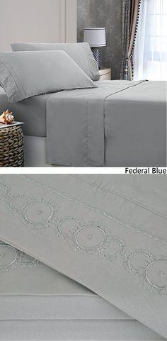Royal Home Decor Embroidered Microfiber Deep Pocket Sheet Set (Queen, Federal Blue)