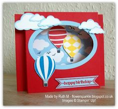 Flower Sparkle: Hot Air Balloons Birthday Shadow Box Card, Choc Chip Ginger Nuts & A Cake Boy Cards, Kids Cards, Fun Fold Cards, Folded Cards, Shadow Box, Scrapbook Cards, Scrapbooking, Card Making Inspiration, Birthday Balloons