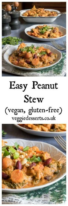 Easy Peanut Stew (vegan and gluten free) Ready in just 25 minutes! This flavourful Vegan Peanut Stew is packed with vegetables, spices and flavour. The cumin, turmeric and chilli work well with the creamy peanut butter. #vegan #veganrecipes #glutenfreevegan #veganglutenfree #peanutstew #stew #peanutbutter