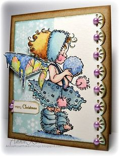 """Winter Fairy"" - a card with a stamped image from Penny Black by JammySage"