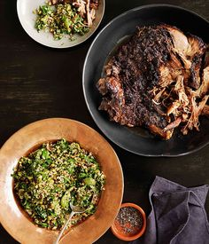 Australian Gourmet Traveller recipe for 12-hour roast lamb with pistachio and green-olive tabbouleh by Shane Delia from Melbourne restaurant Maha.