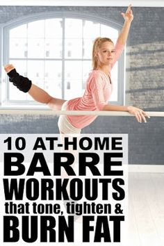 Barre exercises include postures from ballet yoga and pilates and while the moves are slight the benefits and results (lean toned muscles) can be pretty impressive. Perfect for beginners these at home barre workout videos and routines require very l Barre Exercises At Home, Barre Workout Video, Workout Videos, At Home Workouts, Barre Workouts, Home Barre Workout, Ballet Barre Workout, Barre Moves, Barre At Home Workout