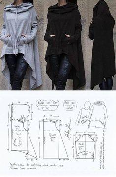 El patrón de la chaqueta deportiva con la capucha (la Costura y el corte) Fashion Sewing, Diy Fashion, Ideias Fashion, Fashion Outfits, Dress Sewing Patterns, Clothing Patterns, Pattern Sewing, Diy Clothing, Sewing Clothes
