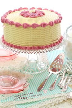 SugaryWinzy Checkerboard Cake with Vintage Buttercream
