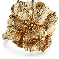 Oscar De La Renta Bold 3D Flower Bracelet ($390) ❤ liked on Polyvore featuring jewelry, bracelets, gold, jewelry bracelets, cuff jewelry, flower jewellery, golden jewelry, golden bangles and blossom jewelry