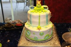"Frog Prince cake I made for baby shower(see corresponding diaper cake under ""my cakes"")"