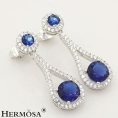 Valentine's Gift AAA ROUND Blue Sapphire 925 Sterling Silver PARTY Earrings #Hermosa #Stud $15