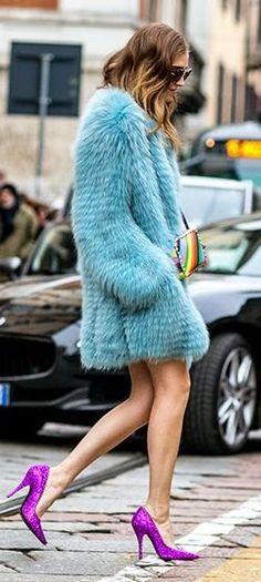 Baby Blue Faux Fur Coat Outfit Idea