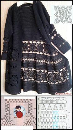 Crochet Coat, Crochet Jacket, Crochet Motif, Crochet Patterns, Fashion Sewing, Crochet Fashion, Crochet Baby Clothes, Knitting Designs, Sweater Fashion