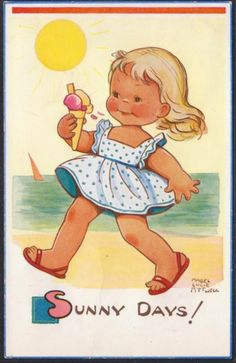 MABEL LUCIE ATTWELL SUNNY DAYS GIRL EATING ICE CREAM CORNET | eBay