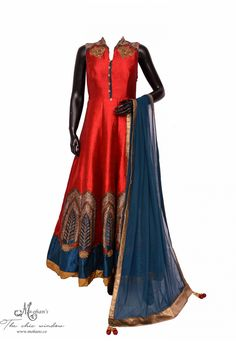 Elegant maroon anarkali adorn in dabka, stones and patch work