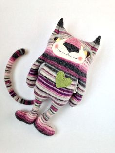 Striped Cat Stuffed Animal from Wool Sweater by sweetpoppycat