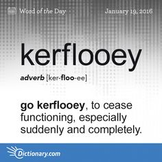 Kerflooey definition, to cease functioning, especially suddenly and completely; fail: As soon as the storm hit, every light in town went kerflooey. The Words, Weird Words, Words To Use, Great Words, Foreign Words, English Vocabulary Words, English Words, Unusual Words, Unique Words