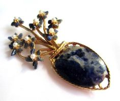 Lapis Lazuli Pin or Brooch with Pearls Swoboda by OurBoudoir