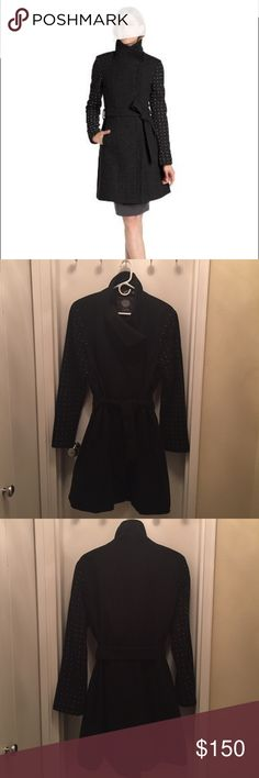 Vince Camuto funnel neck wool coat Size XL - true to size - silver metal studded sleeves - zipper closure - tie belt - offers welcome! Vince Camuto Jackets & Coats