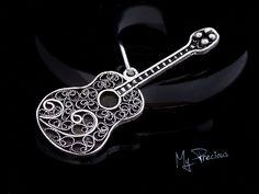 Fine silver filigree guitar pendant