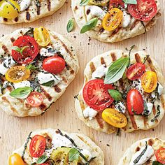 Grilled Tomato-Basil Pizzettes Recipe