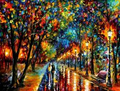 "Tonight I chose ""When Dreams Come True"", a painting be Leonid Afremov because something just happened that is making a dream of mine that much closer to becoming a reality. If I could, I'd jump into this painting with a champagne glass in one hand and a bunch of sparklers in the other one, and run up and down the street shouting ""Yahoo! Yahoo!"""
