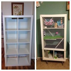 DIY Ikea Hack: Bookshelf turned into hamster cage Cage Rat, Pet Rat Cages, Gerbil Cages, Pet Cage, Bunny Cages, Rabbit Cages, Diy Guinea Pig Cage, Guinea Pig House, Guinea Pigs