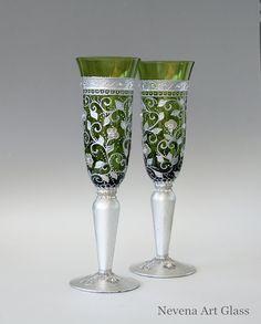 #Champagne #Glasses #Wedding Glasses Toasting by NevenaArtGlass