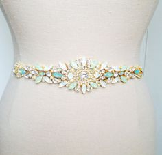 Mint Opal Bridal Belt-Vintage Wedding-One of a Kind Hand