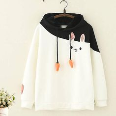 Kawaii Rabbit Carrot Cotton Fleece Hoodie - Product ID: CottonSleeve Length: LongSeason: Spring, Autumn, WinterColor: White, Pink - Teen Fashion Outfits, Cool Outfits, Casual Outfits, Fashion Dresses, Kawaii Fashion, Cute Fashion, Fashion Photo, Jugend Mode Outfits, Vetement Fashion