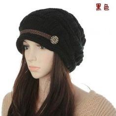 SZ New Fashion Women Warm Winter Slouchy Beanie Beret in Chunky Knit Hats Black SZ. $11.99