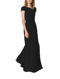 Shop Joanna August Bridesmaid Dress - Kimberly Long in Chiffon at Weddington Way. Find the perfect made-to-order bridesmaid dresses for your bridal party in your favorite color, style and fabric at Weddington Way. Designer Bridesmaid Dresses, Black Bridesmaid Dresses, Bridesmaids, Black Dress With Sleeves, Dresses With Sleeves, Cap Sleeves, Joanna August, Cap Dress, Couture