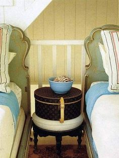 So charming....a hatbox used as a nightstand!  Great for small spaces