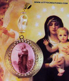 Catholic Virgin Mary, St. Joseph Relic Locket Shrine Reliquary Religious Pendant www.letyscreations.com