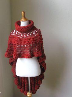 RED CAPE PONCHO Crochet Knit Shawl Sweater por marianavail en Etsy