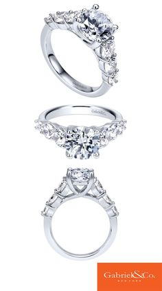 Gabriel & Co. - 14k White Gold Diamond Halo Engagement Ring.