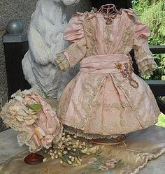 Marvelous French Silk Bebe Costume with Bonnet SOLD #dollshopsunited